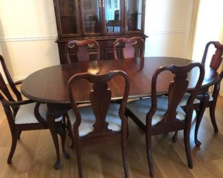 cherry table with 6 chairs