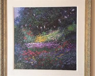 """Flower Bed"", oil painting on canvas by Hans Ressdorf (Germany 1918-2011), 24"" x 24"", framed size 33"" x 33, signed lower left."