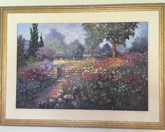"""Garden Gate"", oil painting on canvas by Hans Ressdorf, 24"" x 36"", framed size 32"" x 44"", signed lower left."