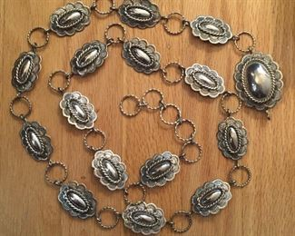 Navajo sterling concha bracelet, signed by Joe Paul - 15 conchos + buckle