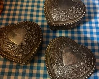 3 silver plate hearts