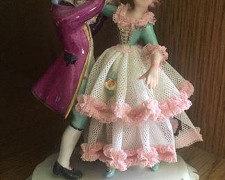 German porcelain lace dress dancing couple figurine
