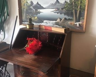 Antique drop down secretary desk