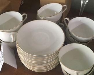 Set of 12 china tea cups and saucers