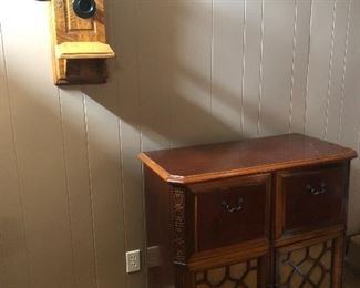 House 1: Antique phone and radio/record player console