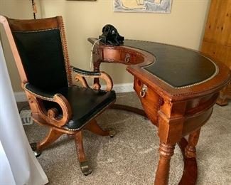 Half-round (Hunting Table) leather top desk w/matching leather chair