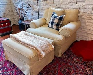 1 of 2 matching upholstered chairs w/ottoman