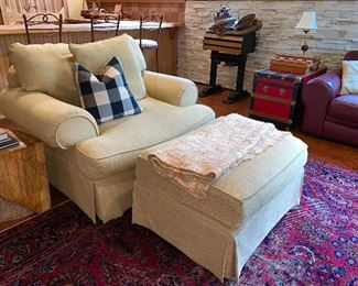2 of 2 matching upholstered chairs w/ottoman
