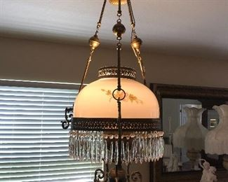 Brass, crystal & glass Chandelier