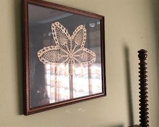 crochet piece framed