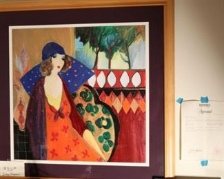 "Indigo Chapeau by Itzchak Tarkay, Seriolithograph.  22 x 22"".   Signed and registered."