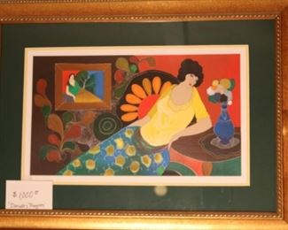 """Itzchak Tarkay. """"Danielle's Thoughts"""" seriolithograph in color on wove paper.   registered. Signed on the plate."""