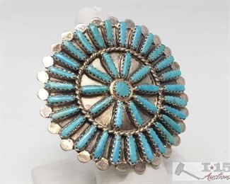 #600 BYJoe Vintage Turquoise Cluster Large Face Sterling Ring, 14.5g