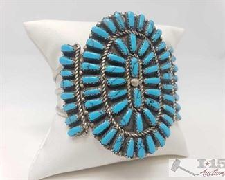#615 • Vintage Block Turquoise Cluster Sterling Bracelet, 33.5g