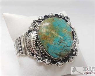 #616 • Marcella James Vintage Turquoise Mixed Media Sterling Bracelet, 55.7g