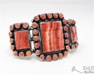 #618 • Native American Sterling Silver Navajo Handmade Spiny Oyster Cuff Bracelet, 49.9g