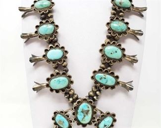 #640 • Vintage Sterling Silver Turquoise Squash Blossom Necklace, 201.1g
