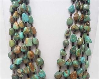 #645 • Vintage Turquoise Nugget & Heishe Multi Strand Necklace