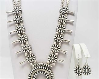 #651 • Handmade Sterling Silver Navajo Reversible Coral and White Buffalo Necklace Set