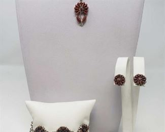 #655 • Sterling Silver Coral Necklace, Bracelet and Earring Set