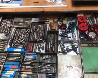 Inside Flat File Drawers with an incredible mixture of vintage and Antique tools. Mills Bits Dies Taps. Lovingly cared for.