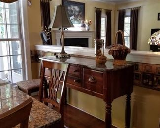 Beautiful Granite Top Table and Sideboard.  Will be priced as a set and separately.