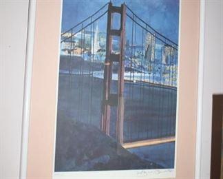 Tony Bennett limited edition lithograph Golden Gate Bridge