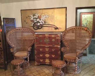 Peacock fan back chairs with stools, Asian Tawain Tanzu chest