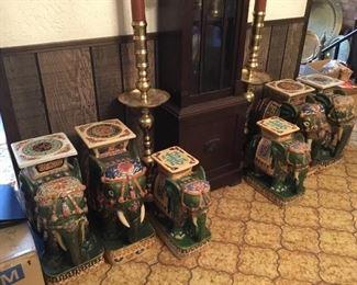 Glazed pottery Elephants garden seat from Saigon. Priced as pairs