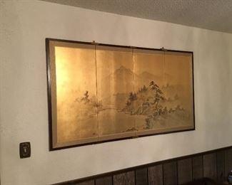 Oriental screen gold wall mounted
