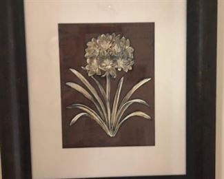 Block print floral in hefty custom wood frame.