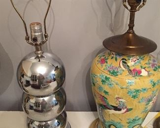 1970s collectible vintage chrome 3 way bubble lamp. Gorgeous vintage hand-painted asian vase, turned lamp.