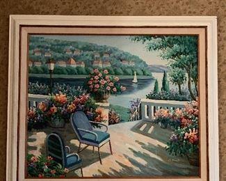Wonderful Mediterranean Painting, Oil on Canvas ca. 1970's