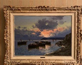 """Oceanic Sunset"" by De LUCA , ca. 1950 Oil on Canvas"