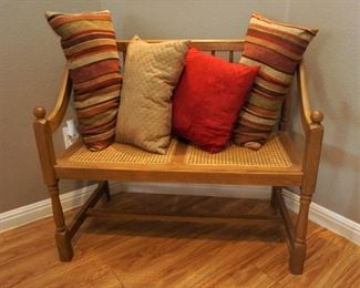 Caned seat bench