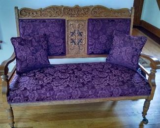 TURN-OF-CENTURY EASTLAKE LOVE SEAT....GREAT CONDITION......HEAVILY CARVED !!!