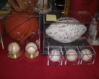 autographed 1995 Carolina Panthers team football, autographed baseballs, etc.