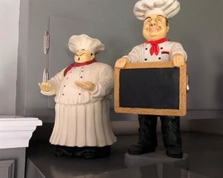 Cook figurines blackboard for menu