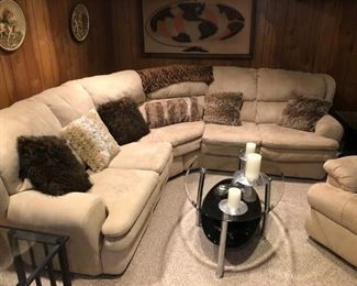 Sectional couch glass coffee table