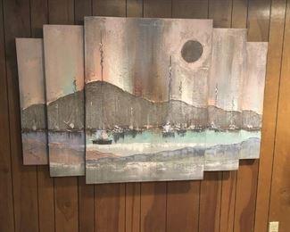 Layered wall scene of bay