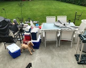 Grill, table and chairs