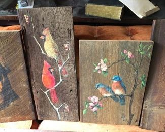 Muriel Danby painting on barn lumber