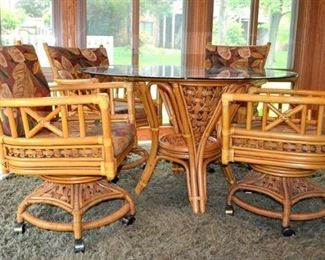BAMBOO DINETTE w/GLASS TOP TABLE & 4 CHAIRS