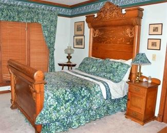 LATE 1800's OAK HIGH CROWN BED