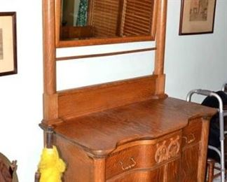 LATE 1800's OAK CROWN WASH STAND - Note Towel Bar Below Mirror