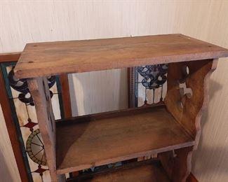 View of Antique Wooden Bookshelf