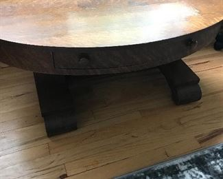 Low oval Oak table with drawer!