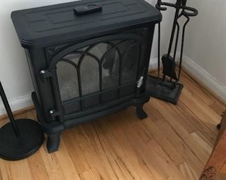Electric heater with remote! Antique fireplace tool set!
