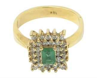 1. Womens 18K Yellow Gold Ring wEmerald Diamonds