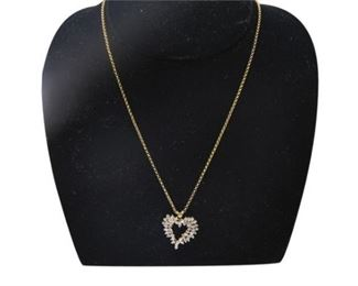 4. Womens 14K Yellow Gold Heart Pendant wDiamonds and Chain
